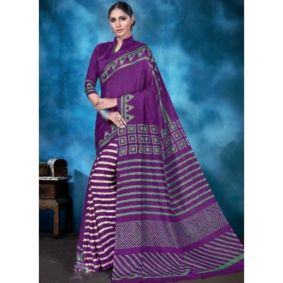 Indian Aurra Violet Tussur Silk Printed Saree