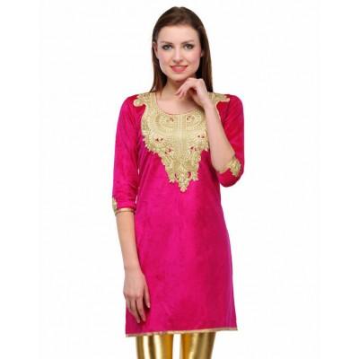 Indian Aurra Pink Velvet Embroidered Straight Kurta