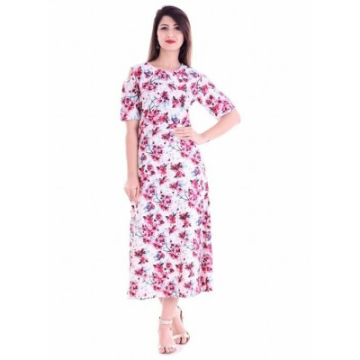 Indian Aurra White Rayon Printed Straight Kurta