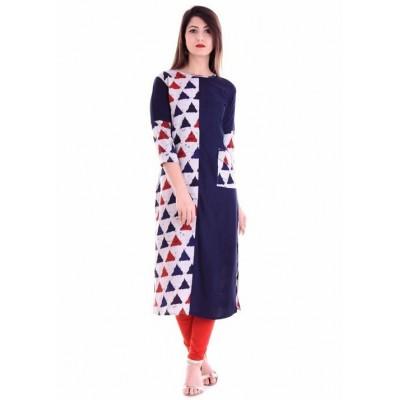 Indian Aurra Navy Blue Rayon Printed Straight Kurta