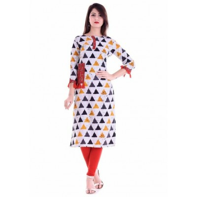 Indian Aurra White Rayon Printed Straight Kurta