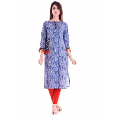 Indian Aurra Blue Cotton Printed Straight Kurta