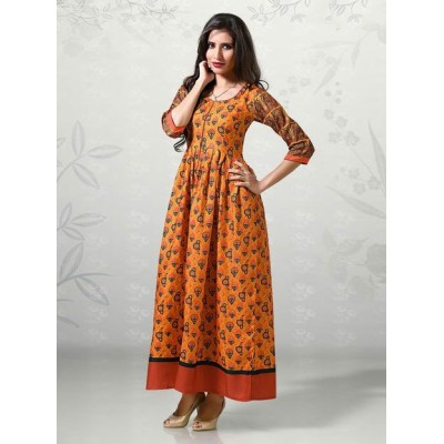 Indian Aurra Orange Cotton Digital printed Anarkali Kurta