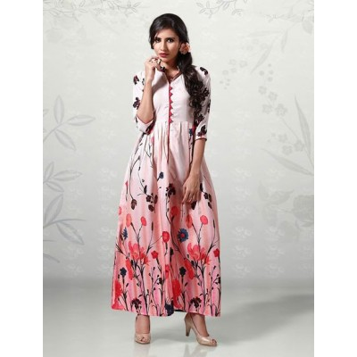 Indian Aurra Multi Colour Cotton Digital printed Anarkali Kurta
