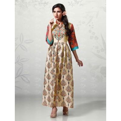 Indian Aurra Cream Cotton Digital printed Anarkali Kurta