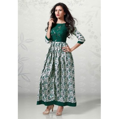 Indian Aurra Green Cotton Digital printed Anarkali Kurta