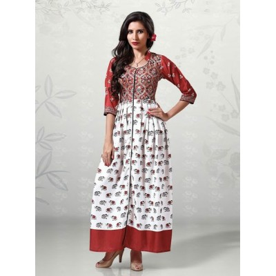 Indian Aurra White Cotton Digital printed Anarkali Kurta