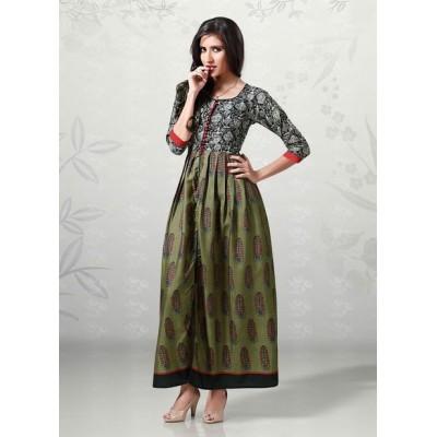 Indian Aurra Dark Green Cotton Digital printed Anarkali Kurta