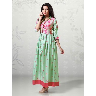 Indian Aurra Light Green Cotton Digital printed Anarkali Kurta