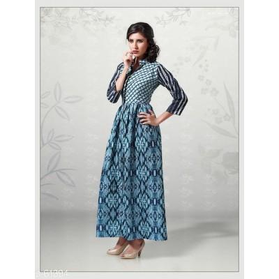 Indian Aurra Navy Blue Cotton Digital printed Anarkali Kurta
