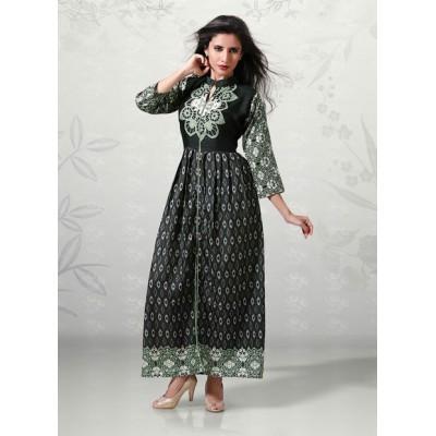 Indian Aurra Black Cotton Digital printed Anarkali Kurta