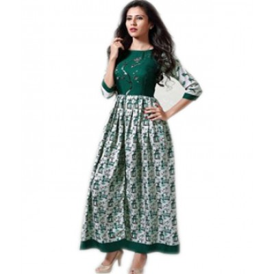 Indian Aurra Green Cotton Digital printed Anarkali Kurta