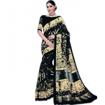 Indian Aurra Black Tussur Silk Printed Saree