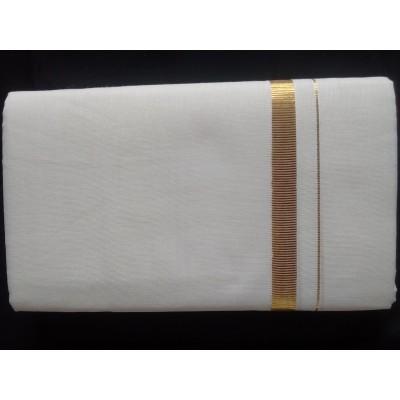 Kanyakumari Handloom Gold Zari KH201 Off White Cotton Handloom Dhoti