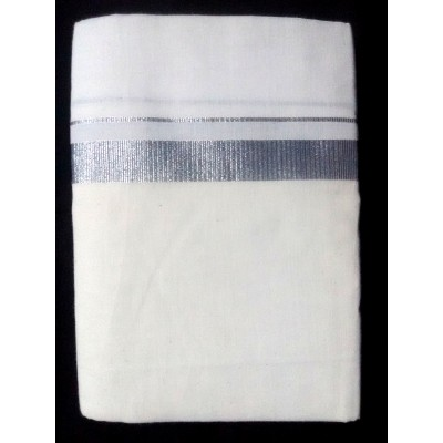 Kanyakumari Handloom Silver Zari Silver Cotton Power loom Dhoti