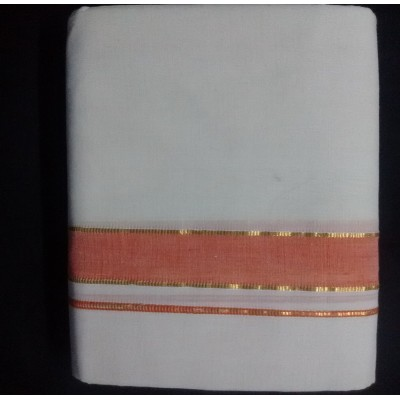 Kanyakumari Handloom Orange border with Gold Zari Orange Cotton Handloom Dhoti