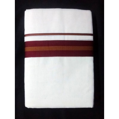 Kanyakumari Handloom Maroon Cotton Power loom Dhoti