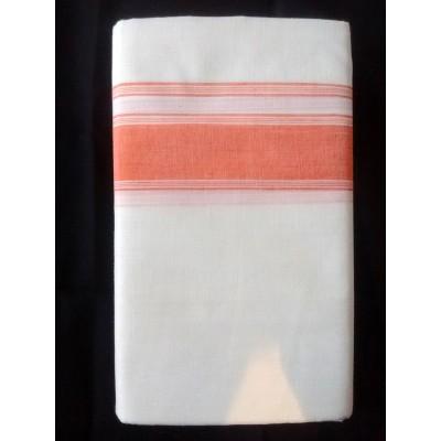 Kanyakumari Handloom Orange Cotton Handloom Dhoti
