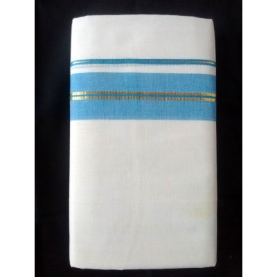 Kanyakumari Handloom Blue with center Gold zari Blue Cotton Handloom Dhoti