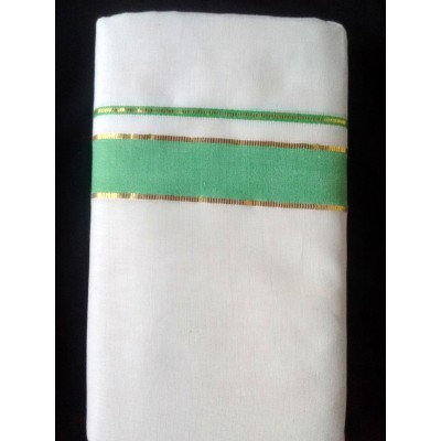 Kanyakumari Handloom Green with Gold Zari Green Cotton Handloom Dhoti