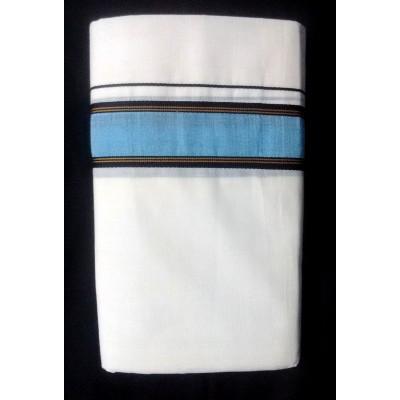 Kanyakumari Handloom Sky Blue Cotton Handloom Dhoti