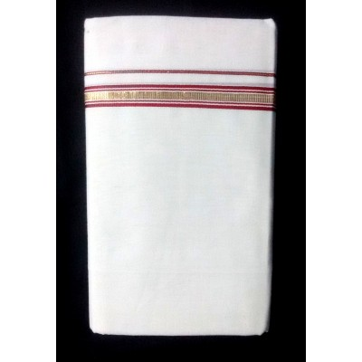 Kanyakumari Handloom Gold Zari with Red Cotton Handloom Dhoti