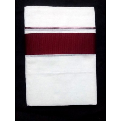 Kanyakumari Handloom Maroon Cotton Powerloom Dhoti