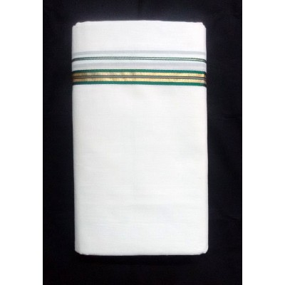 Kanyakumari Handloom Gold Zari with Green Cotton Handloom Dhoti