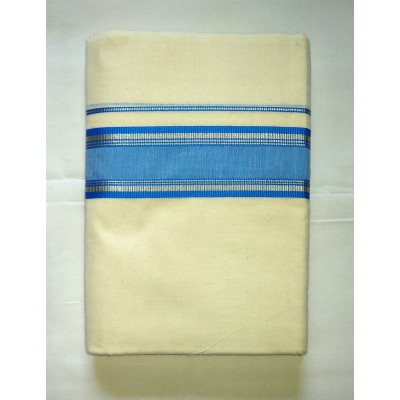 Kanyakumari Handloom Silver zari Blue Cotton Powerloom Dhoti