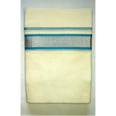 Kanyakumari Handloom Silver zari Blue Cotton Handloom Dhoti