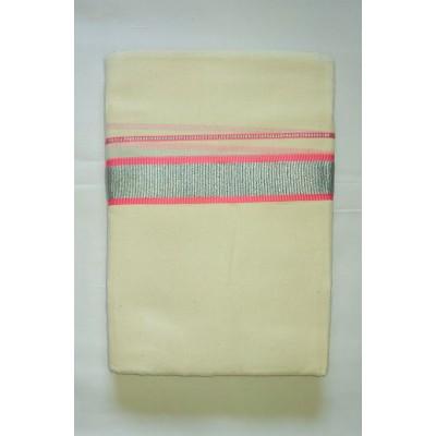 Kanyakumari Handloom Silver zari Pink Cotton Handloom Dhoti