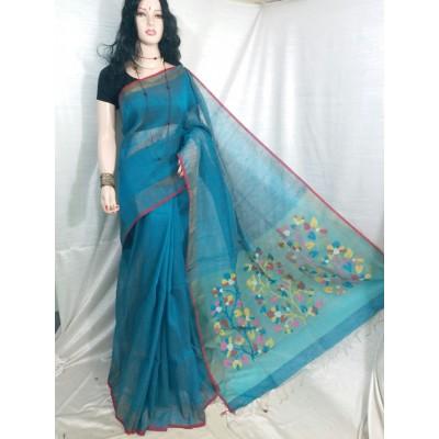 Vimal Trendz Blue Linen Resham Worked Saree