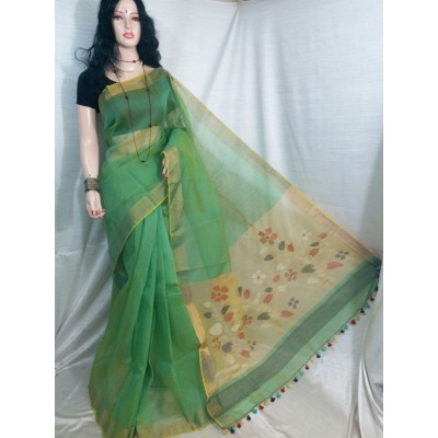 Vimal Trendz Green Linen Resham Worked Saree