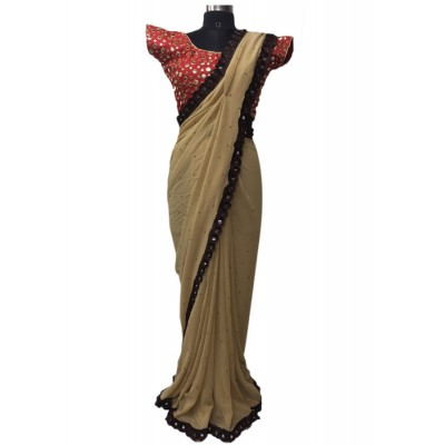 MyOnlineShoppy Beige Georgette Pearl Worked Saree
