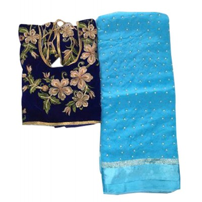 MyOnlineShoppy Blue Georgette Pearl Worked Saree