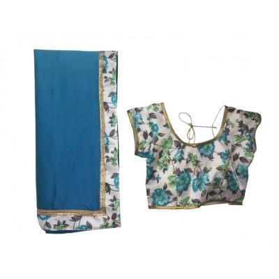 MyOnlineShoppy Blue Rangoli Peding Printed Saree