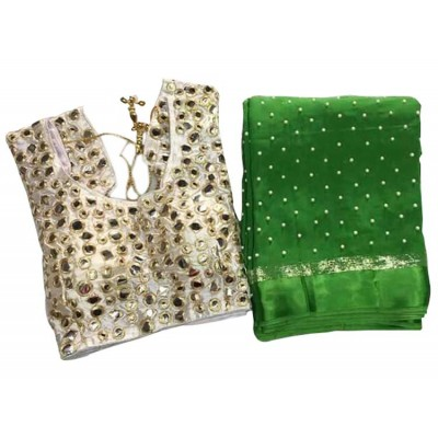 MyOnlineShoppy Green Georgette Pearl Worked Saree