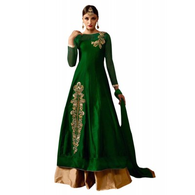 MyOnlineShoppy Green Taffeta Silk Embroidered Semi-Stitched Lehenga Choli