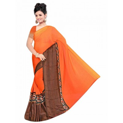 MyOnlineShoppy Orange Pure Viscose Digital printed Saree