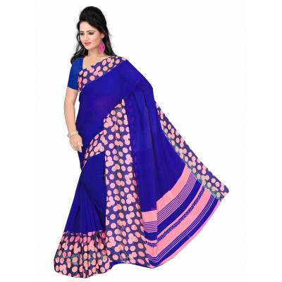 MyOnlineShoppy Blue Pure Viscose Digital printed Saree