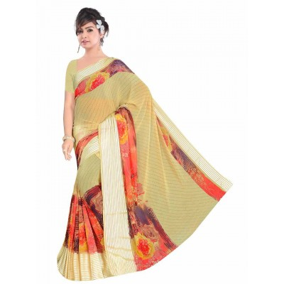 MyOnlineShoppy Mustard Pure Viscose Digital printed Saree