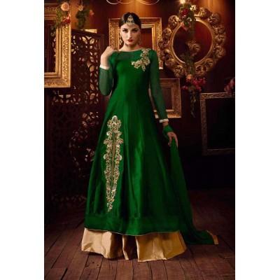 MyOnlineShoppy Green Taffeta Silk Embroidered Semi-Stitched Lehenga Choli