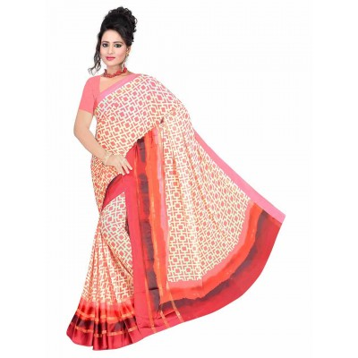 MyOnlineShoppy Peach Pure Viscose Digital printed Saree