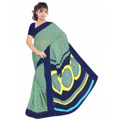 MyOnlineShoppy Turquoise Pure Viscose Digital printed Saree