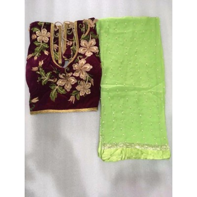 MyOnlineShoppy Light Green Georgette Pearl Worked Saree