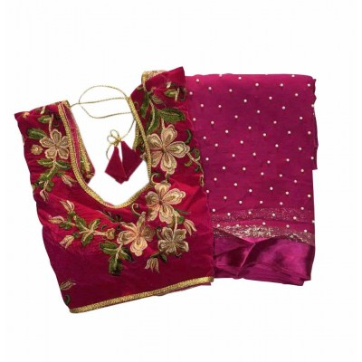 MyOnlineShoppy Magenta Georgette Pearl Worked Saree