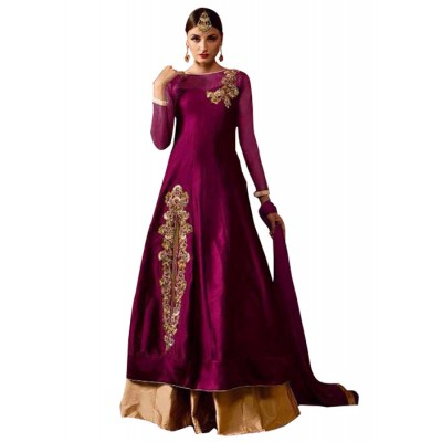 MyOnlineShoppy Magenta Taffeta Silk Embroidered Semi-Stitched Lehenga Choli