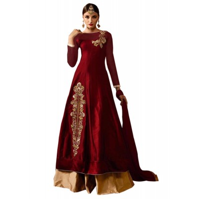 MyOnlineShoppy Maroon Taffeta Silk Embroidered Semi-Stitched Lehenga Choli