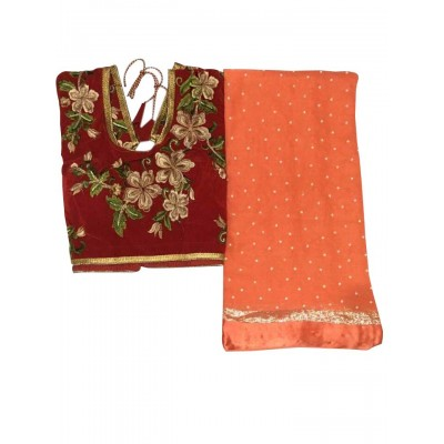 MyOnlineShoppy Orange Georgette Pearl Worked Saree