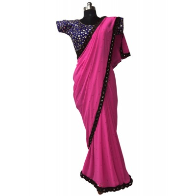 MyOnlineShoppy Pink Georgette Pearl Worked Saree